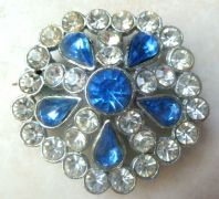 Vintage Large Blue And Clear Rhinestone 1950's Statement Floral Brooch.